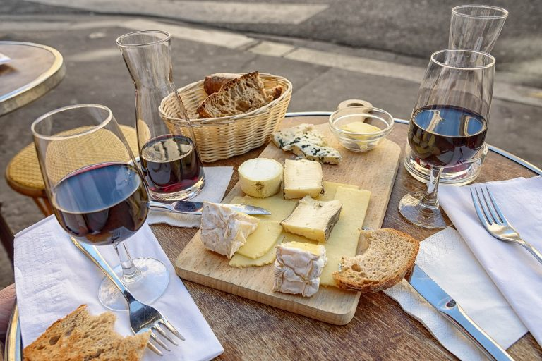 Online French class cheese plate